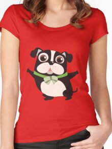 Cute Cartoon Pets Dogs Boston Terrier Women's Fitted Scoop T-Shirt