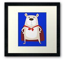 Cute Cartoon Bear Super Hero Framed Print
