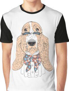 Hipster dog Basset Hound  Graphic T-Shirt