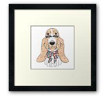 Hipster dog Basset Hound  Framed Print