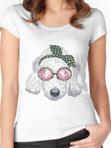 Hipster dog Bedlington Terrier Women's Fitted Scoop T-Shirt