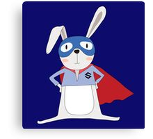 Cute Cartoon Animals Bunny Rabbit Super Hero Canvas Print
