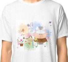 Beautiful Watercolor Cat in Flower Garden  Classic T-Shirt