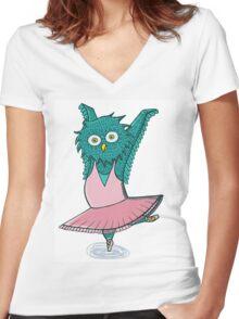 Owl ballet Women's Fitted V-Neck T-Shirt