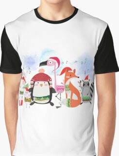 Silly Cartoon Animals Christmas Holiday Graphic T-Shirt