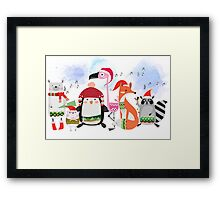 Silly Cartoon Animals Christmas Holiday Framed Print