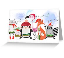 Silly Cartoon Animals Christmas Holiday Greeting Card
