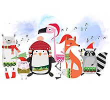 Silly Cartoon Animals Christmas Holiday Photographic Print