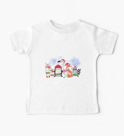 Silly Cartoon Animals Christmas Holiday Baby Tee