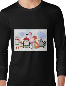 Silly Cartoon Animals Christmas Holiday Long Sleeve T-Shirt