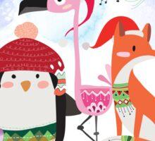 Silly Cartoon Animals Christmas Holiday Sticker