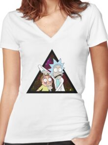 Rick and morty space V5. Women's Fitted V-Neck T-Shirt