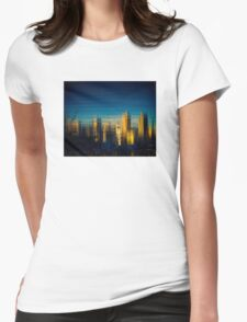 City Reflection in Sunset glow Womens Fitted T-Shirt