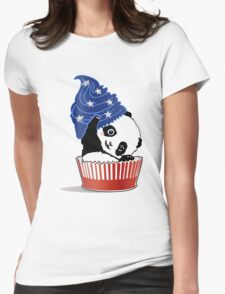 Panda America Cupcake  Womens Fitted T-Shirt