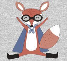 Silly Cartoon Animals Red Fox Superhero One Piece - Short Sleeve