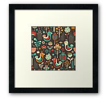 Funny Birds and Flowers Framed Print