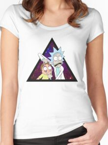 Rick and morty space v6. Women's Fitted Scoop T-Shirt