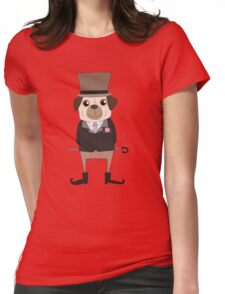 Funny Cartoon Pets Pug Dog Womens Fitted T-Shirt