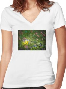 Flowery Summer Meadow Women's Fitted V-Neck T-Shirt