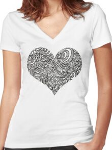 Heart Shaped Doodles Women's Fitted V-Neck T-Shirt