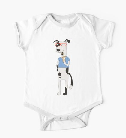 Funny Cartoon Pets Dog With Coffee One Piece - Short Sleeve