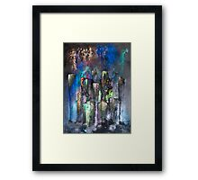 Abstract Urban High Rises in Pigments and Ink Framed Print