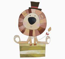 Watercolor Wild Animals Lion in Top Hat Kids Tee