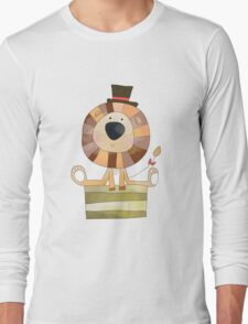 Watercolor Wild Animals Lion in Top Hat Long Sleeve T-Shirt
