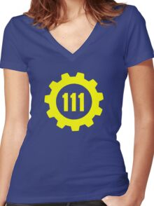 Vault 111 - Emblem Women's Fitted V-Neck T-Shirt