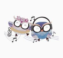 Cute Watercolor Singing Dancing Owls Baby Tee
