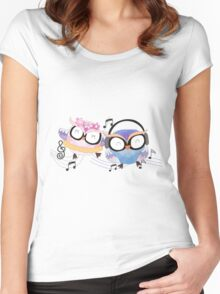 Cute Watercolor Singing Dancing Owls Women's Fitted Scoop T-Shirt