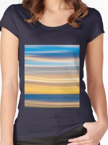 Bright coastal abstract eye-catching wavy pattern Women's Fitted Scoop T-Shirt