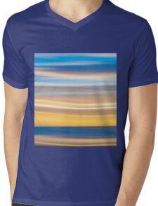 Bright coastal abstract eye-catching wavy pattern Mens V-Neck T-Shirt
