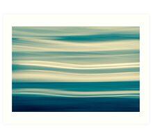 Retro effect coastal abstract wavy clouds over horizon Art Print