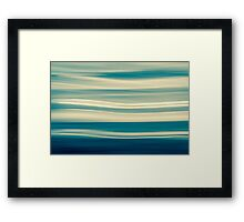 Retro effect coastal abstract wavy clouds over horizon Framed Print