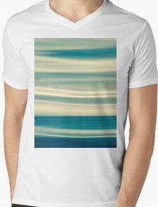 Retro effect coastal abstract wavy clouds over horizon Mens V-Neck T-Shirt