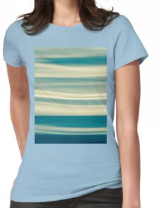 Retro effect coastal abstract wavy clouds over horizon Womens Fitted T-Shirt