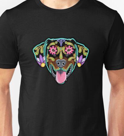 Doberman - Floppy Ear Edition - Day of the Dead Sugar Skull Dog Unisex T-Shirt