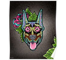 Doberman - Cropped Ear Edition - Day of the Dead Sugar Skull Dog Poster