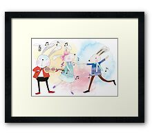 Cute Watercolor Animals Rabbits Sing and Dance Framed Print