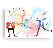 Cute Watercolor Animals Rabbits Sing and Dance Canvas Print