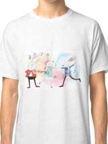 Cute Watercolor Animals Rabbits Sing and Dance Classic T-Shirt