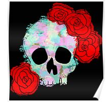 Pastel Skull with Roses Poster