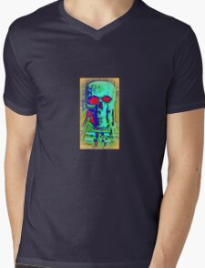 The Creepy Skeleton Head Mens V-Neck T-Shirt