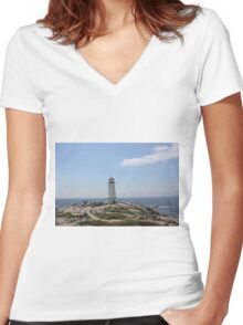 Peggy's Cove Lighthouse Women's Fitted V-Neck T-Shirt