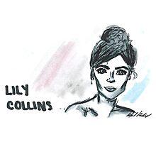 Lily Collins Portrait  Photographic Print