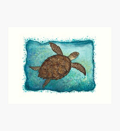 Hawksbill Sea Turtle ~ Watercolor  Art Print