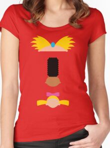 Minimalist Hey Arnold Women's Fitted Scoop T-Shirt