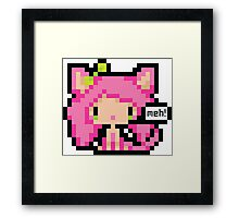 Pixel Art Neko Girl - Pink Framed Print