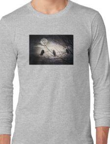 Three Bald Eagles under the Full Moon  Long Sleeve T-Shirt